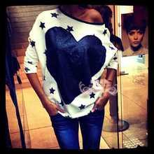 2015 new brand sudaderas mujer Autumn women three sleeve heart star print sexy pullover o-neck hoodies sweatshirt free shipping(China (Mainland))