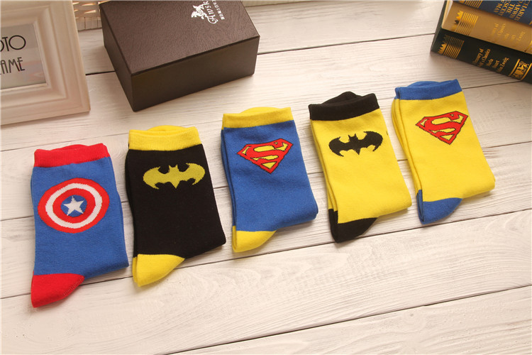 Superman Batman Captain USA classical cartoon summer style happy socks character pattern Superheroes men s weed