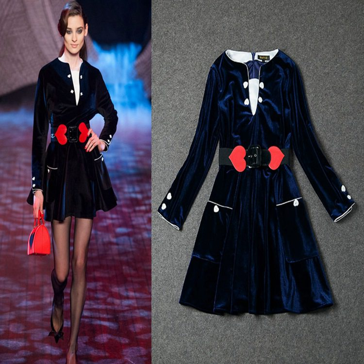 New Arrive 2015 European American European High Quality Fashion Full Slevee V-Neck Heart Button Navy Dress With BeltОдежда и ак�е��уары<br><br><br>Aliexpress