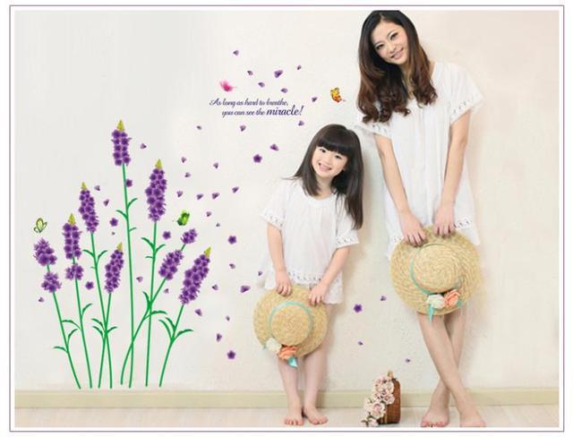 Съёмный винил стена наклейки фиолетовый влюбленность лаванда цветок и бабочка для дома декор стена отличительные знаки 770