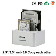 Plastic silver double dock usb3.0 to sata hdd ssd case hard disk For 2.5″ /3.5″ to 6TB per with Clone hard disk tray
