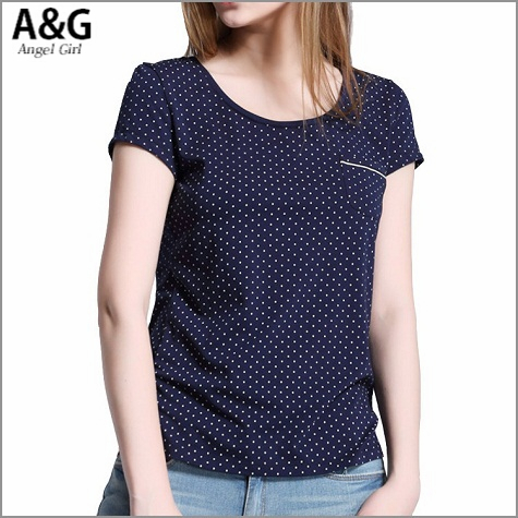 2015 summer women's t shirt casual graphic tops basic tee women T-shirts short sleeve polka dot with pockets tshirt AG-2717(China (Mainland))