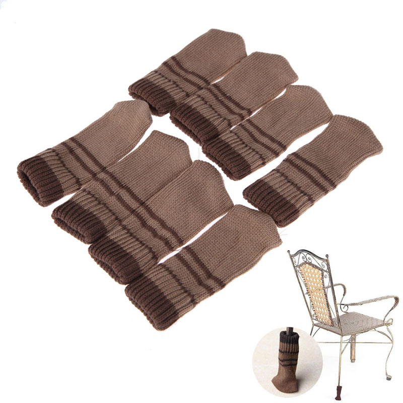 #Cu3 Newest 8PCS Practical Knitting Wool Furniture Leg Cover Brown Floor Protector(China (Mainland))