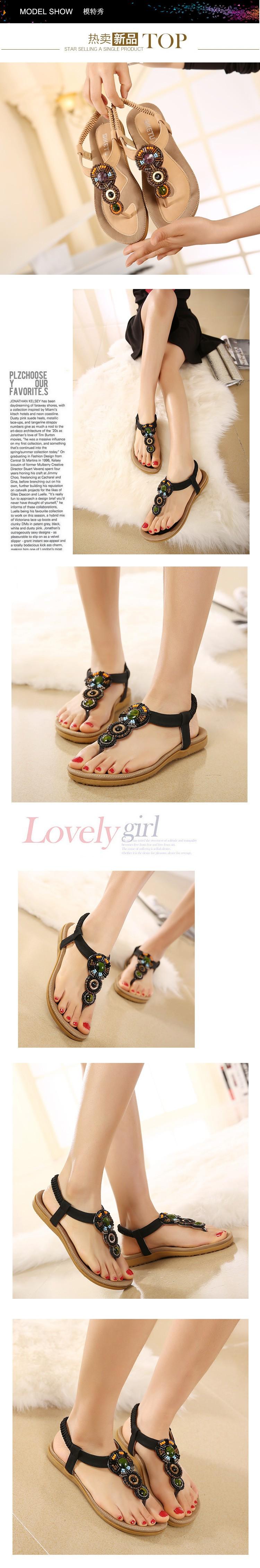 2016 New National Diamond Bohemian Flat Sandals Women Girls Beading Slippers Summer Sandals Ladies Flip Flop Beach Shoes NX79