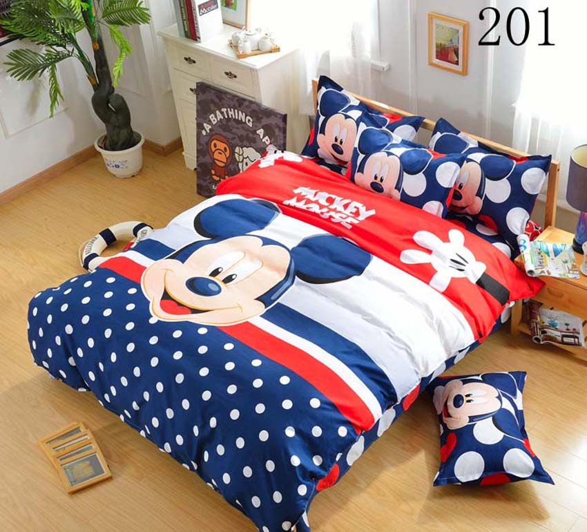 Boys and girls Cartoon kids Mickey Minnie 3/4pcs bedding set bedclothes set Duvet Cover sheet Pillowcase,Queen Full Twin size(China (Mainland))