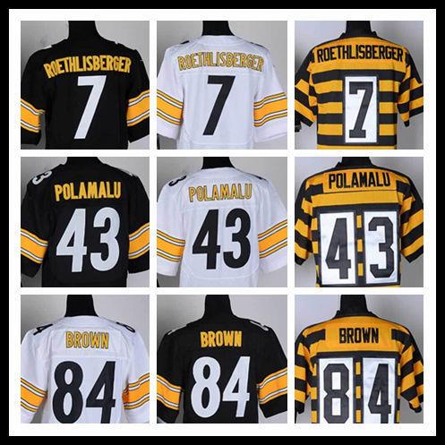 Fast Free Shipping Pittsburgh #7 Ben Roethlisberger #84 Antonio Brown #43 Troy Polamalu Jerseys Elite American Football Jerseys(China (Mainland))