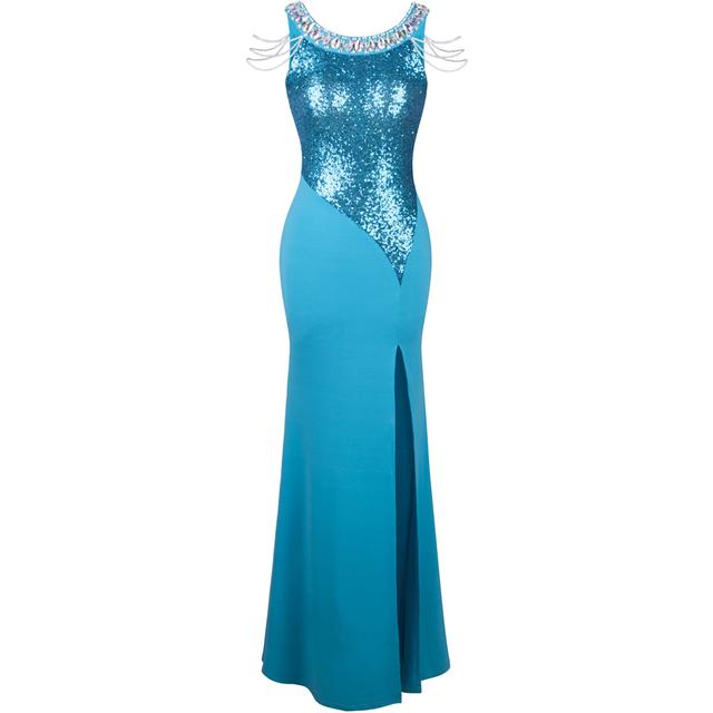 Ангел - моды пром платья блесток перл сплит спинки обертывание шею вечернее платье ...