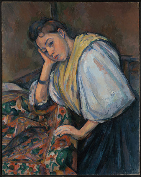 Canvas Art Prints Stretched Framed Giclee World Famous Artist Oil Painting Paul Cezanne French Young <font><b>Italian</b></font> Woman At Table