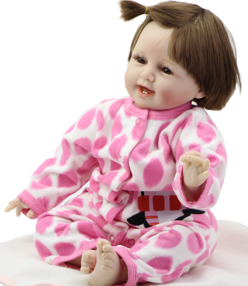 22 Inch Silicone Reborn Baby Doll Wearing Pink Dot Clothing Lovely NPK Doll Smiling Reborn Baby Boy Can Lying And Sitting<br><br>Aliexpress