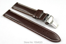 19mm (Buckle18mm) PRC200 T014410 T461 T17 T41 High Quality Silver Butterfly Buckle + Brown Genuine Leather Watch Bands Strap