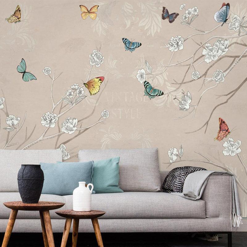 Popular discount wallpaper buy cheap discount wallpaper for Butterfly mural wallpaper