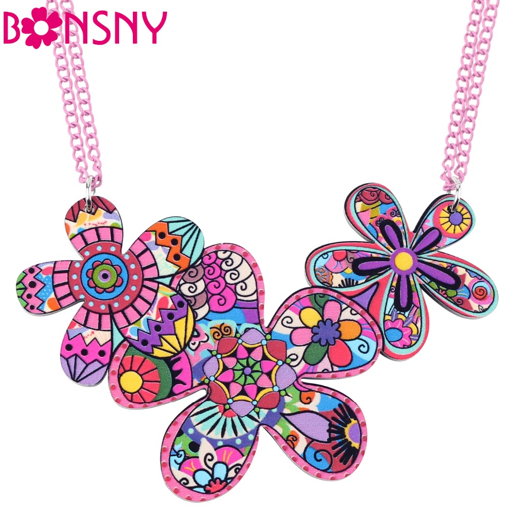Bonsny Flower Necklace Pendant Acrylic Pattern New 2017 Fashion Statement Jewelry Women Girl Choker Collar Charm Accessories