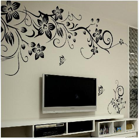 wall stickers black butterfly diagonal vine Europe and United States black TV setting wall stickers bedroom stickers(China (Mainland))