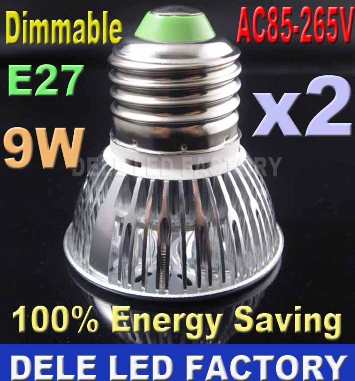 2pcs E27 GU10 MR16 Equivalent to 50w halogen bulb Dimmable 9 Watt LED CFL light Fittings, Free shipping(China (Mainland))
