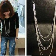 Buy Hot Fashion Jewelry Vintage Retro Style Silver Color 7 Layer Long Tassel Pendant Necklace Sweater Chain Free #DQlyt for $1.01 in AliExpress store