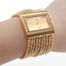 2016 Brand Gold Chain Luxury Women Watches Famous Brand Rectangle Steel Diamond Women Dress Watches Rhinestone Bracelet Watch