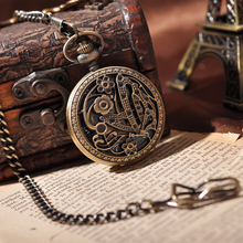 Charm Butterfly Vintage Gold Chain Mechancial Pocket Watch PW236(China (Mainland))