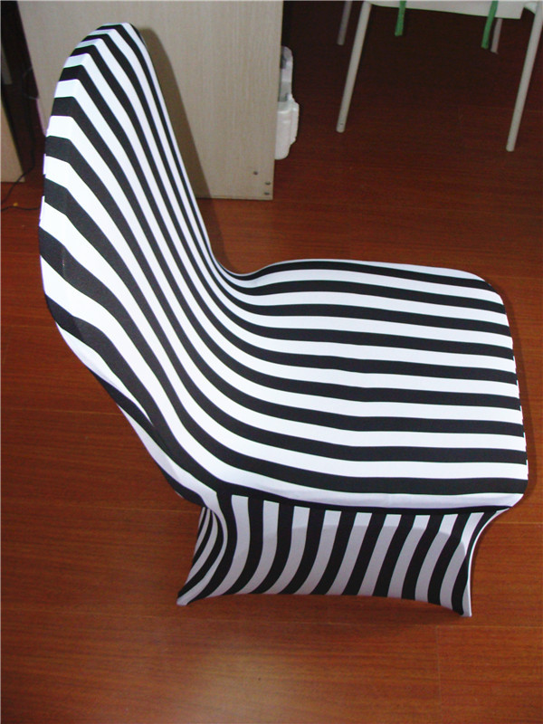 100pcs Wedding Black White Striped Stretch Chair Cover for Banquet Chair Weddings(China (Mainland))