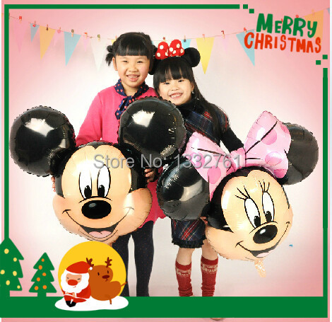 Hot selling 10pcs/lot big Minnie and mickey mouse head foil balloons helium cartoon ballons for mickey mouse party air baloes(China (Mainland))