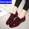 Women Patent leather Fretwork Vintage Flat Oxford Shoes Woman 2017 Fashion British style Brogue Oxfords women
