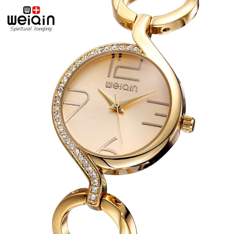 WEIQIN Brand New Fashion Ladies Luxury Gold Quartz Wristwatches Women Famous Brand Rhinestone Watches Relojes Mujer Montre Femme(Hong Kong)