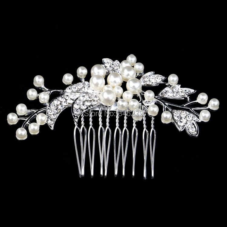 New Austria Crystal Bridal Wedding Tiara Handmade Cream Imitate Pearl Flower Hair Combs Silver Plated Hair Jewelry Accessories(China (Mainland))