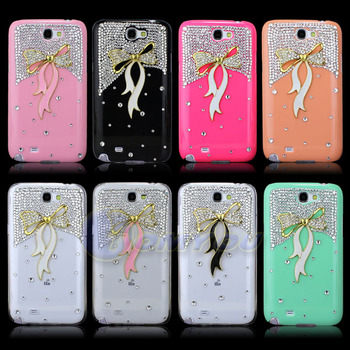 New Luxury Cute Gold Bowknot Handmade Bling Back Hard Case Cover For Samsung Galaxy Note 2 II N7100 Free Shipping
