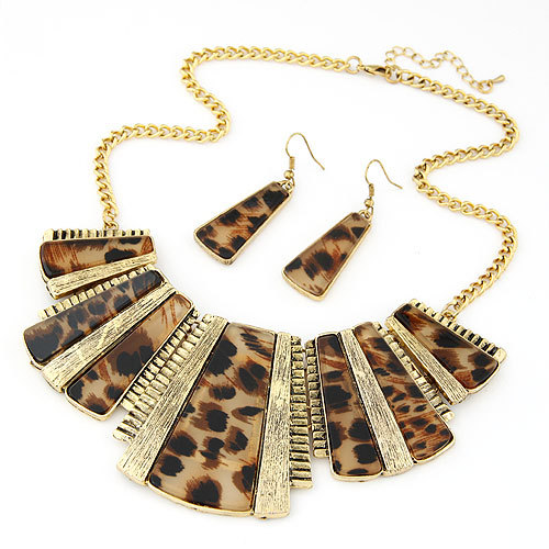 Vintage Square Stone Leopard Alloy Pendant Necklace Earring Set Gold Necklace Earrings Jewelry Set For Women accessories(China (Mainland))