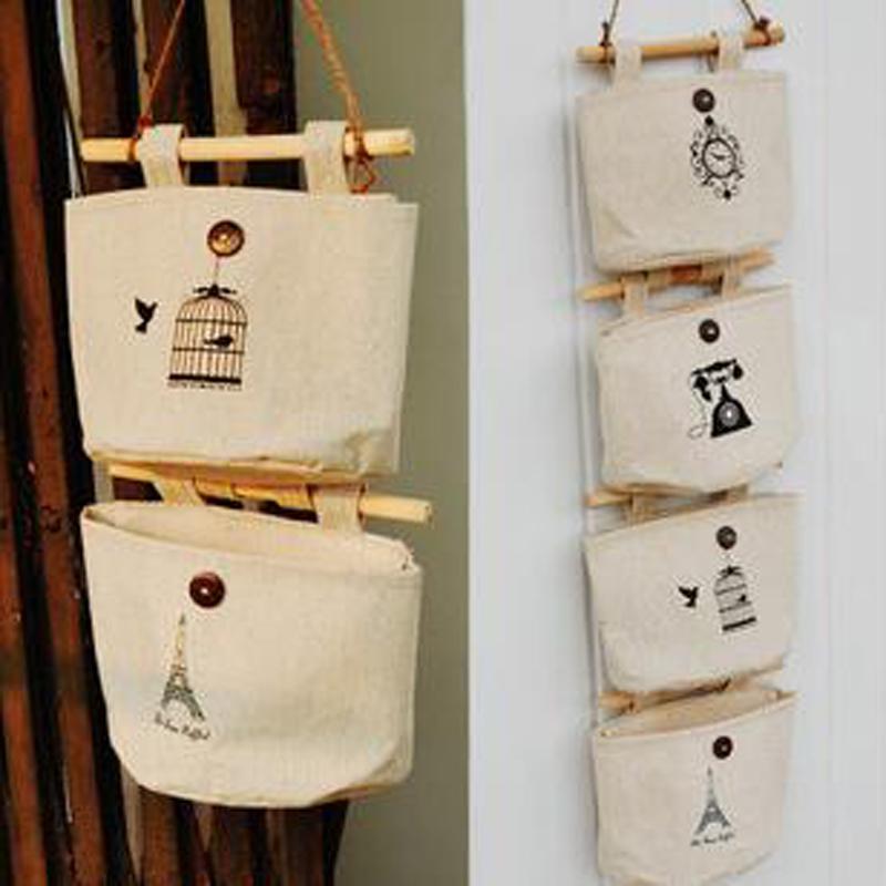 Wall Sundry Fabric Cotton Pocket Hanging Holder Storage Bags Rack makeup organizer storage box Wall&Door Storage Bag#S524(China (Mainland))