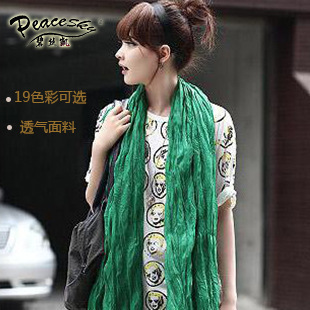 Package mail selling 2015 new winter voile wrinkled pure color cotton and linen scarf Candy color scarf The scarf wholesale(China (Mainland))