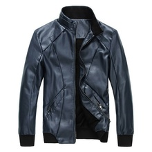 2016 New Brand Men's Fashion Leather Jackets Stand Collar Jaqueta de Couro Masculina Men Winter Jackets Plus Size M - 3XL, CA135(China (Mainland))
