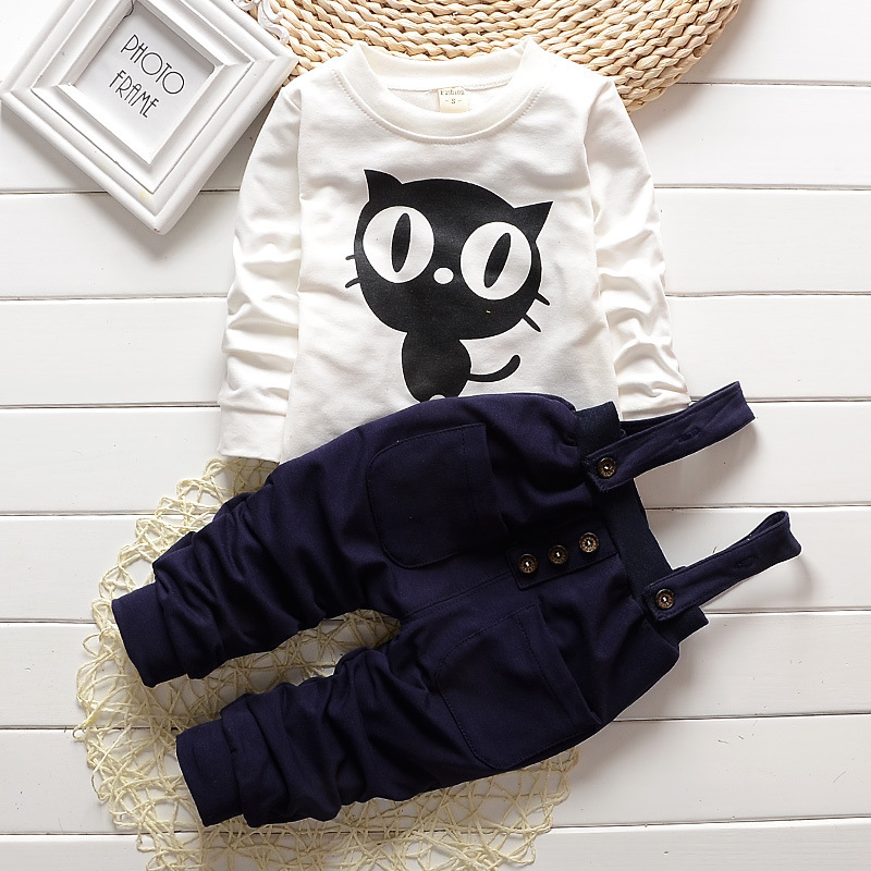 Baby Boys Cloth Set T Shirts + Pants Suspender Cat Children Newborn Clothes Long Sleeve Infant Girls Baby's Sets Kids Suits(China (Mainland))
