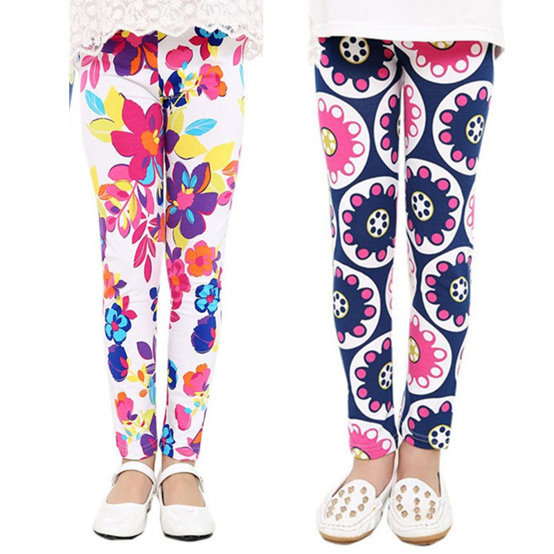 2-13 Years 2016 New Spring Leggings Girls Summer Printing Flower Girls Pants Trousers Children Clothing Baby Kids Girls Leggings(China (Mainland))