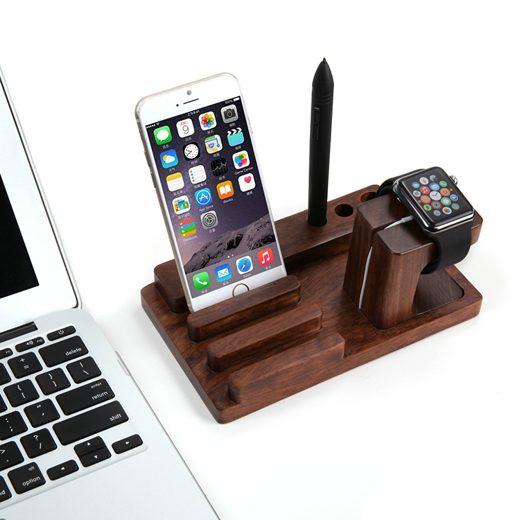 Retro Natural Bamboo Charging Dock Cradle For Apple Watch For iPad Mini 2 3 4 Air For iPhone 5 5S 6 6S Plus Desk Stands Holder(China (Mainland))