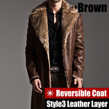 New Style Men's Trench Coat Autumn Winter Reversible Jacket Men Fur long Jackets Casual Trench Overcoat Casaco Jaqueta Masculino(China (Mainland))