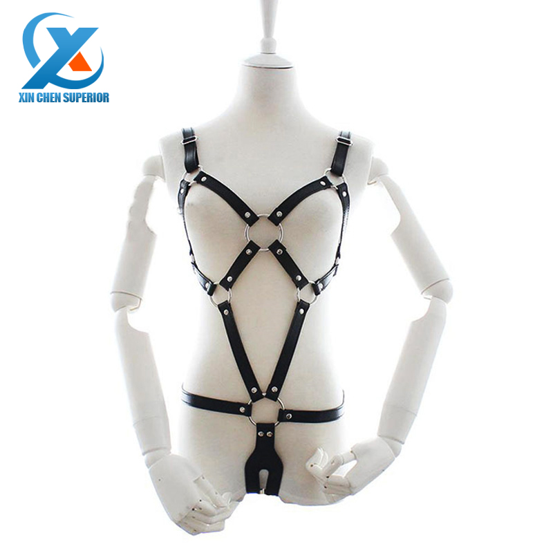 Women's Bondage Fetish Faux Leather Suit Body Harness Lingerie Roleplay Restraint Fetish Wear Adults Game SM Sex Toys for Sale(China (Mainland))