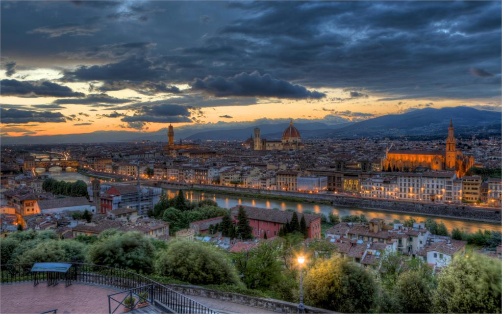 Building evening sunset panorama Italy Tuscany Florence buildings hdr 4 Sizes Home Decor Canvas Poster Print(China (Mainland))