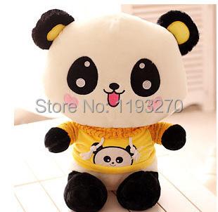 stuffed animal 30 cm smiley panda plush toy yellow cloth panda soft doll gift w3321(China (Mainland))