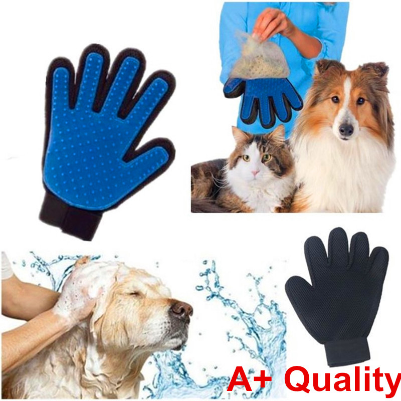 True Touch Five Finger Deshedding Glove for Gentle and Efficient Pet Grooming As Seen On TV Free shipping(China (Mainland))