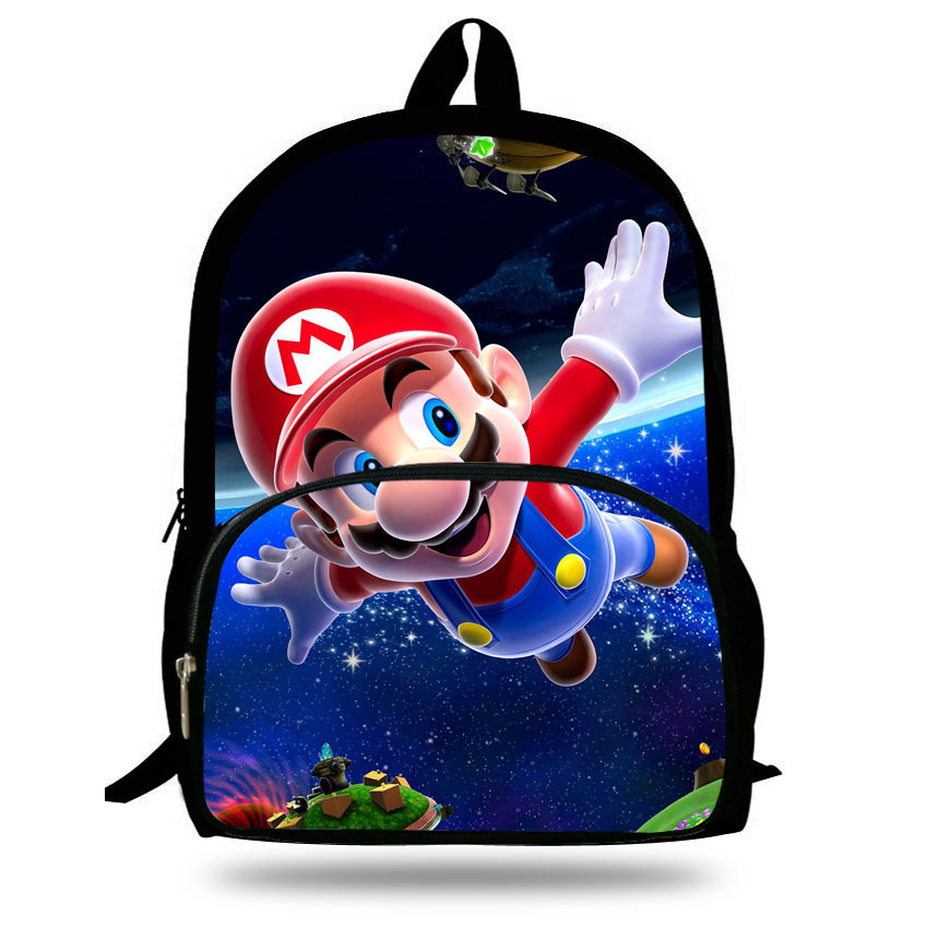 Cute 16-inch Mochila Super Mario Backpack Children For Teenagers Cartoon Girl Bags Kids School Bags Super Mario Print Age 7-13(China (Mainland))