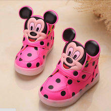 Girl's leather boots baby children toddler lights LED fashion mickey sports casual single shoes ninas kids tenis infantil 757(China (Mainland))