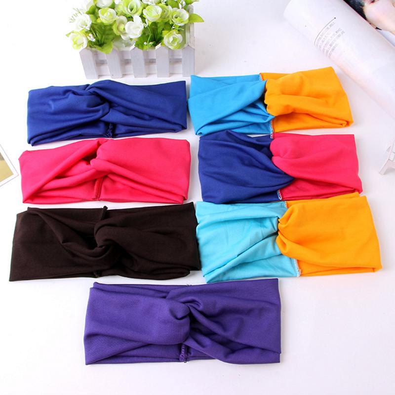 1 Pc New Twist Elasticity Turban Headbands for Women Girl Sport Yoga Stretch Headband Headwear Bows Head Wrap Hair Accessories(China (Mainland))