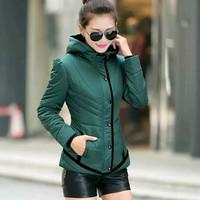 2015 winter cotton-padded jacket women's fashion cotton short cotton-padded jackets hooded women jacket