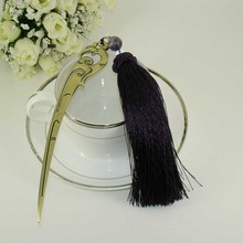 China Antique Stainless Steel Handmade Bookmark with Tassel and Beading Ornaments Purple Fashionable Stationery Accessories Gift(China (Mainland))
