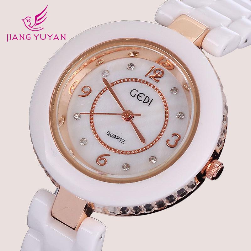 Ceramic watch women brand white rose gold plated case luxury rhinestone crystal bracelets fashion casual<br><br>Aliexpress