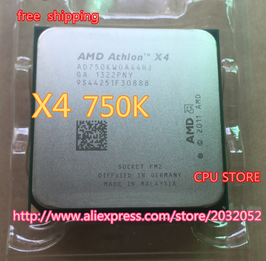 AMD Athlon II X4 750K(3.4GHz/4MB /4 cores /Socket FM2/904-pin)AD750KWOA44HJ Quad-Core CPU (working 100% Free Shipping)(China (Mainland))