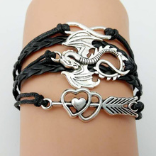 Buy Fashion Game Thrones Men Leather Bracelet Song Ice Fire Vintage Punk Antique Silver Plated Dragon Charm Women for $1.42 in AliExpress store
