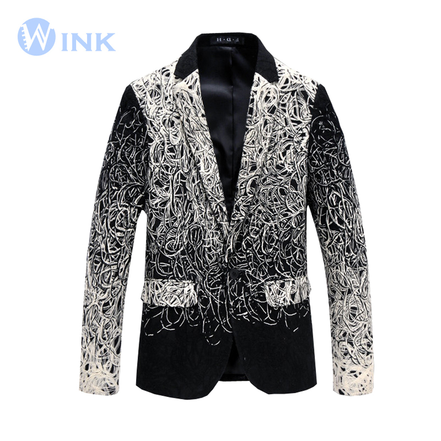 Men Cotton Single Button Slim Fit Suits Youth Coil Wire Formal Wear Casual Jackets Long Sleeve Personality Brand Designer B050(China (Mainland))