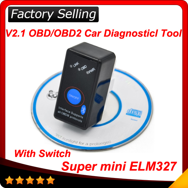 2015 Super Mini ELM327 Bluetooth ELM 327 OBD2 CANBUS diagnostic tool with Switch Works on Android Symbian Windows In stock(China (Mainland))