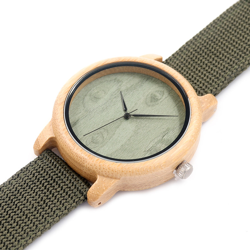BOBO BIRD A1112 Mens Natural Wood Bamboo Watches Womens Vintage Wooden Watch With Army Green Canvas Band